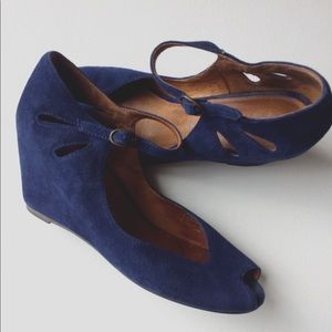 Jeffrey Campbell blue suede wedge